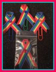 LGBT Ribbons, bookmarks, and magnets.